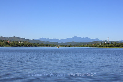 View of distance mountains from Huong River
