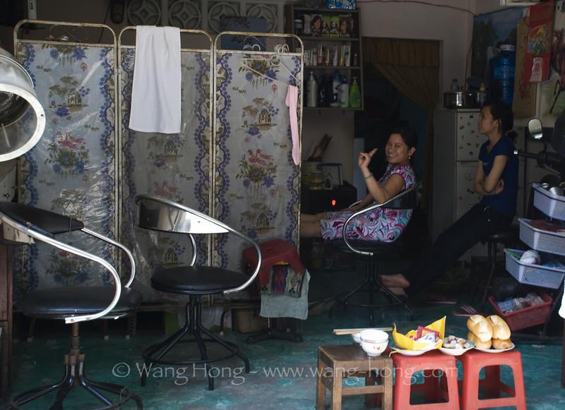 Beauty parlour, in community around Giac Vien Pagoda