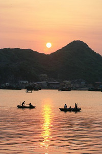 Between home and Cat Ba Island at sunset. Cat Ba Island, Vietnam
