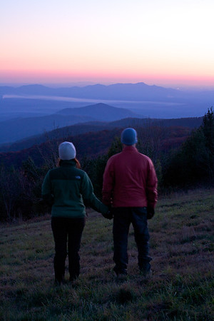 Watching the mountains turn purple and the sky turn red as the last bit of light slowly fades past the horizon.