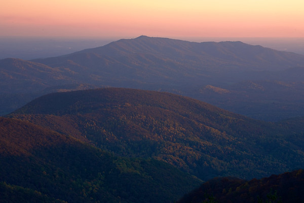 A gorgeous sunset view of the mountains below Cold Mountain.