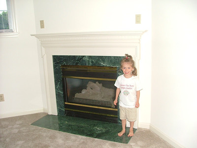 Gas fireplace in den