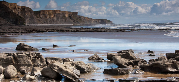 Traeth Mawr - Glamorgan Heritage Coast, South Wales, UK - incoming tide.