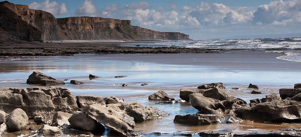 Traeth Mawr - Glamorgan Heritage Coast, South Wales, UK - incoming tide.