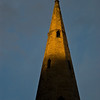 Church spire in Warkworth, Northumberland, late evening sun- May 09