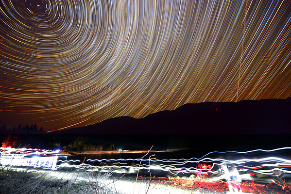 Star Trails over Kachess Lake