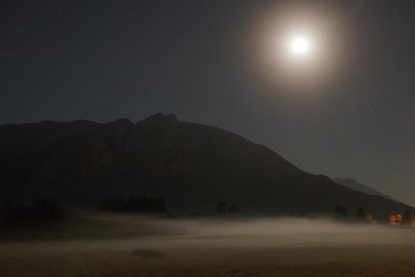 Moon over Meadowbrook Farm fog