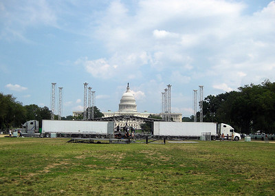 Getting set up for The Call on the mall - Friday - the day before the big event.