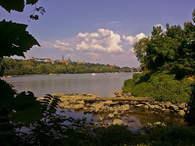 Potomac River, Three Sisters rocks, and Georgetown University across the river.
