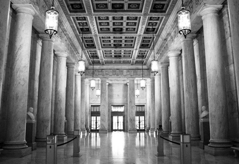 Inside the US Supreme Court Building.