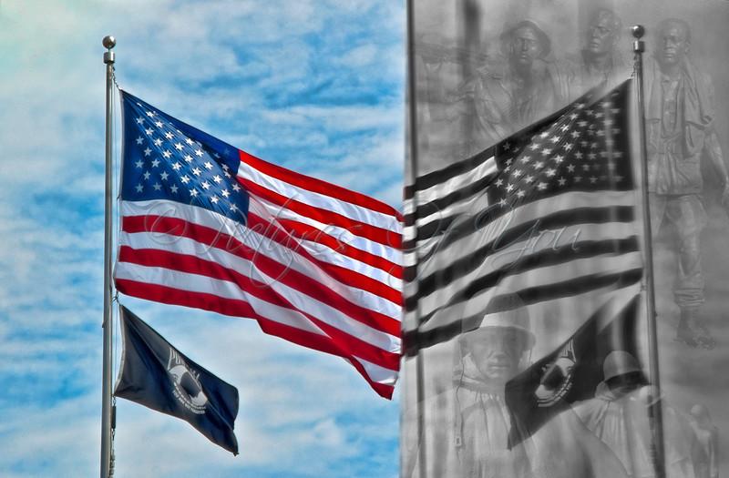 American Flag Reflection in the Korean War Wall Memorial.