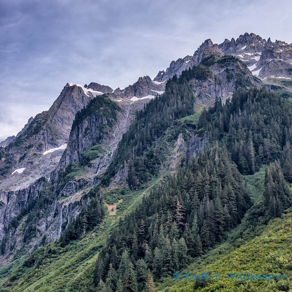 Johannesburg Mountain, North Cascades.  The top is about a mile above this vantage point.