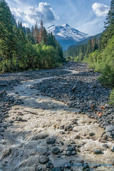 The aptly named Boulder River, flowing from Mount Baker