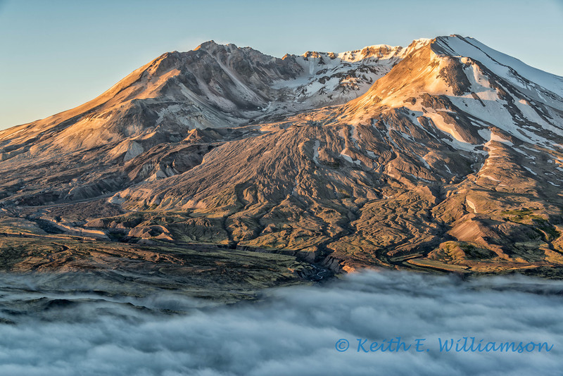 Early light burns off the clouds, Mount Saint Helens