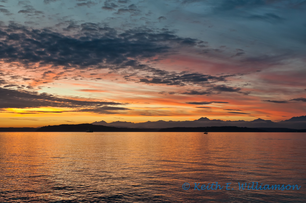 Sunset over the Olympic Mountains, Alki Point, Seattle