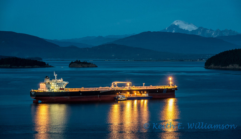 Oil tanker, early evening on Fidalgo Bay