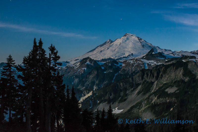 Mount Baker, lit by moonlight, Artist's Point