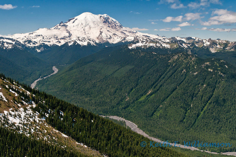 White river leading to Mount Rainier, take from top of Crystal Mountain