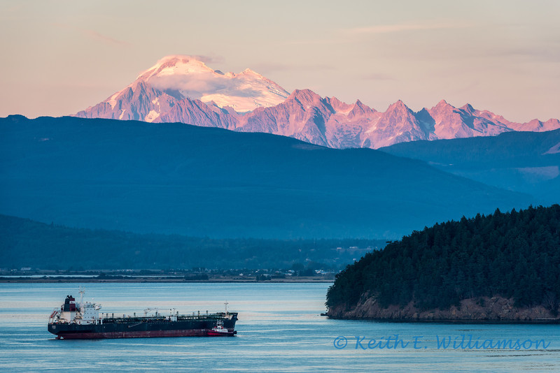 Mount Baker and Twin Sisters range, at sunset, from Cap Sante