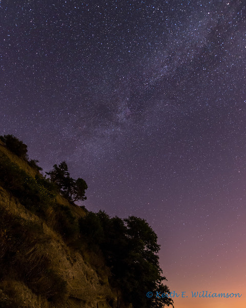 Milky Way, over coastal bluff, Camano Island
