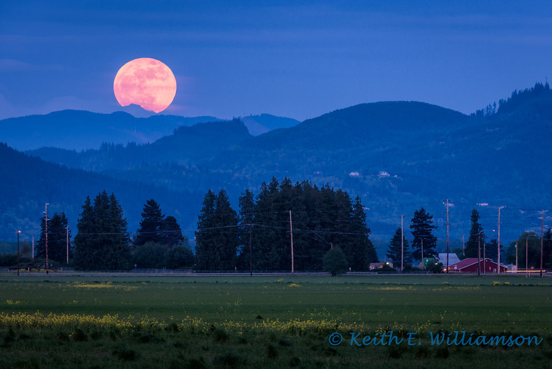 Super Moon, rising over North Cascades foothills