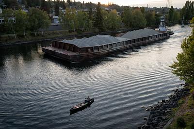 20160929.   Fly fishing from canoe and gravel barge on Lake Washington Ship Channel near Fremont Bridge, Seattle WA.