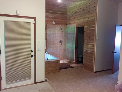 Master Bedroom, Tub, Shower and Bathroom.  Door leading to back deck.
