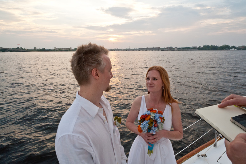 Marisa and Shannon's wedding ceremony aboard the Ciel Bleu.