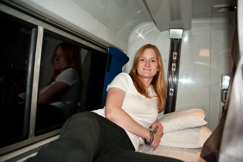 Marisa enjoying our viewliner roomette on Amtrak.