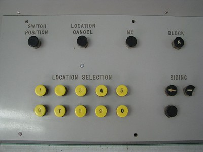 Location Cancel  Detail of the buttons on a railway signal control panel.