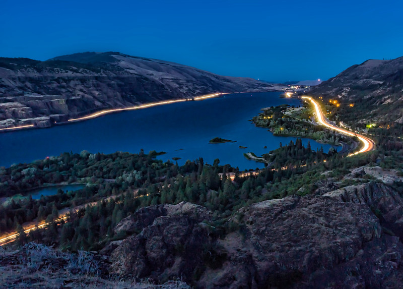 Columbia at night from Rowena Crest
