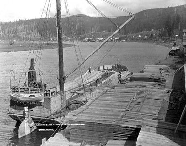 Ocean-going barges carried lumber to California ports.