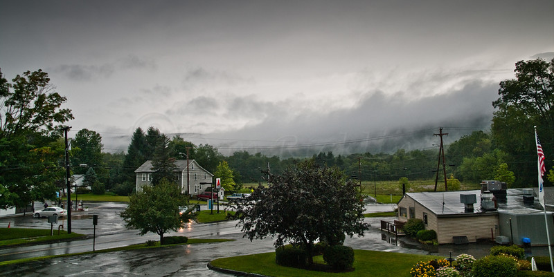 Rainy, cloudy view from Cozy Corner Motel, Williamstown, MA.