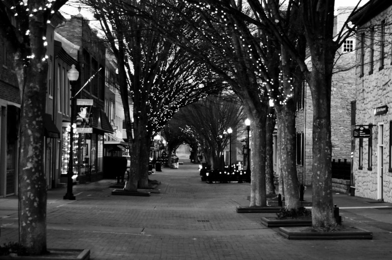 The Walking Mall in Old Town Winchester with lights for Christmas.