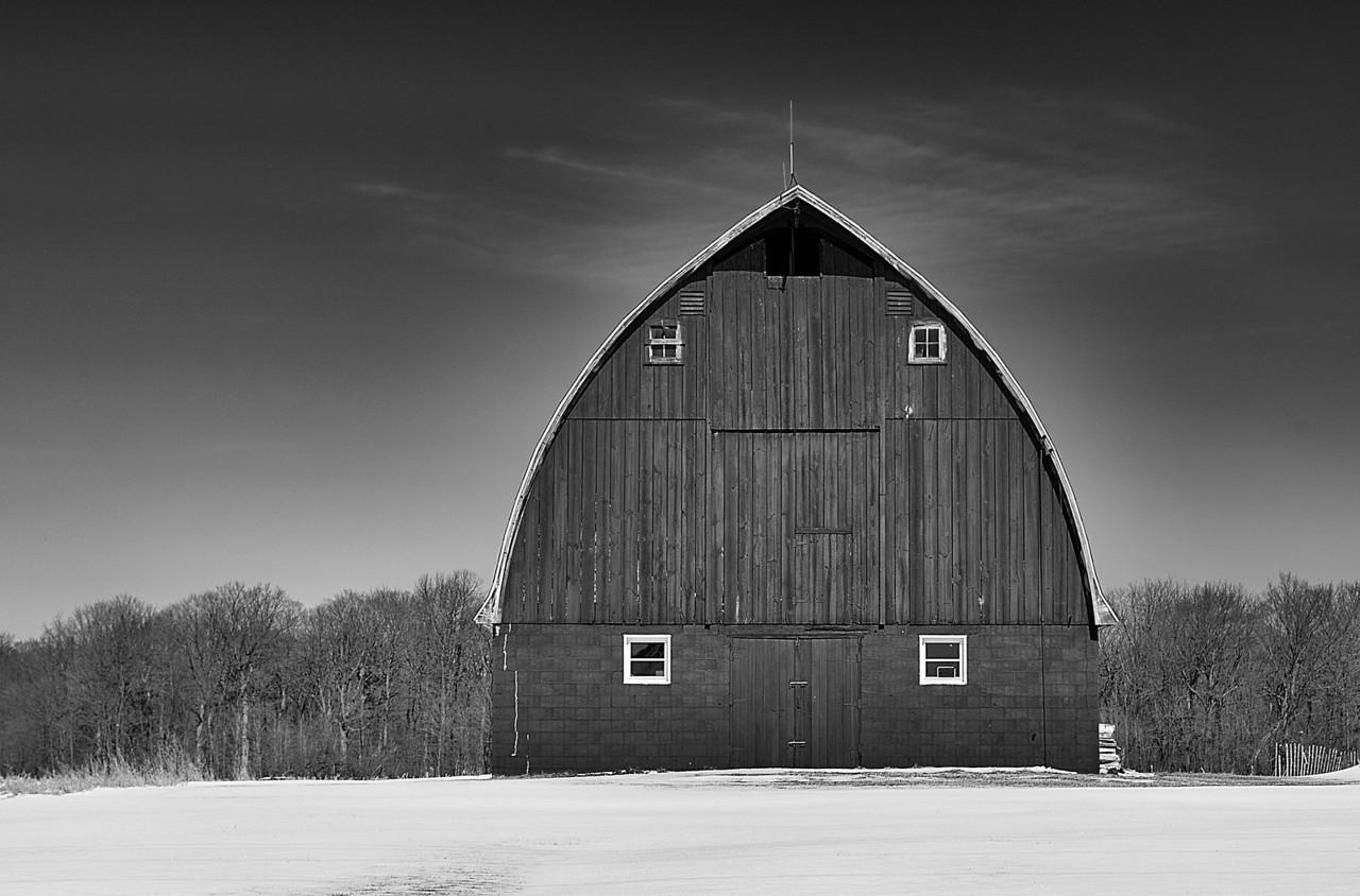 B&W Barn. Wisconsin Rural. Racine County Wisconsin.