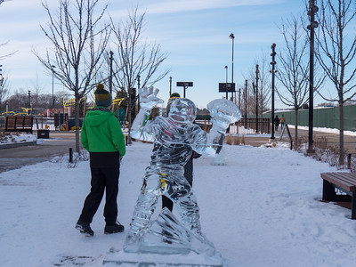 ice sculptures at Titletown
