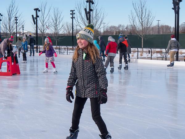Amelia skating at Titletown