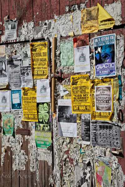A wall of notices on Frenchmen Street in the Marigny/Bywater district, New Orleans.