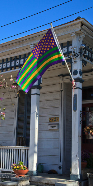 A home in the Marigny/Bywater district, New Orleans, flying it's colors.
