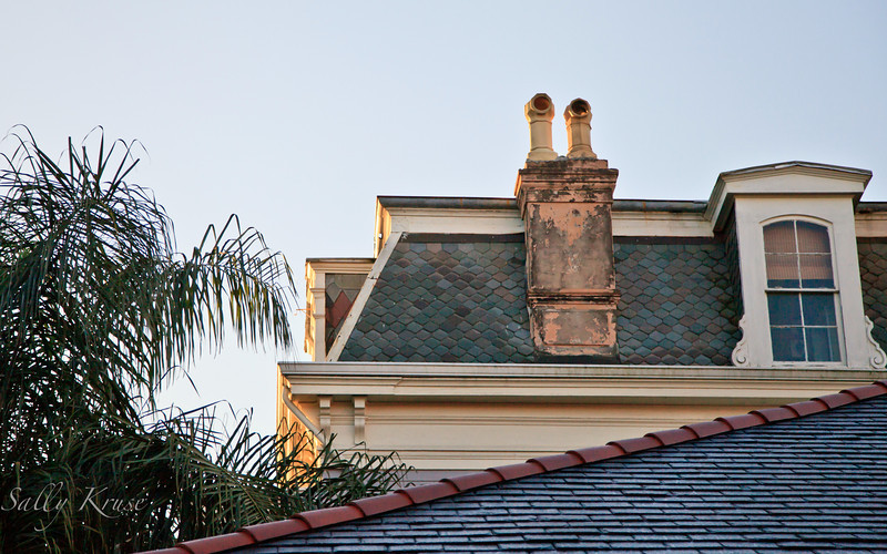 Roof top angles on Royal Street in the French Quarter, New Orleans.