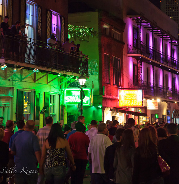 Largely quiet during the day Bourbon Street comes alive at night.
