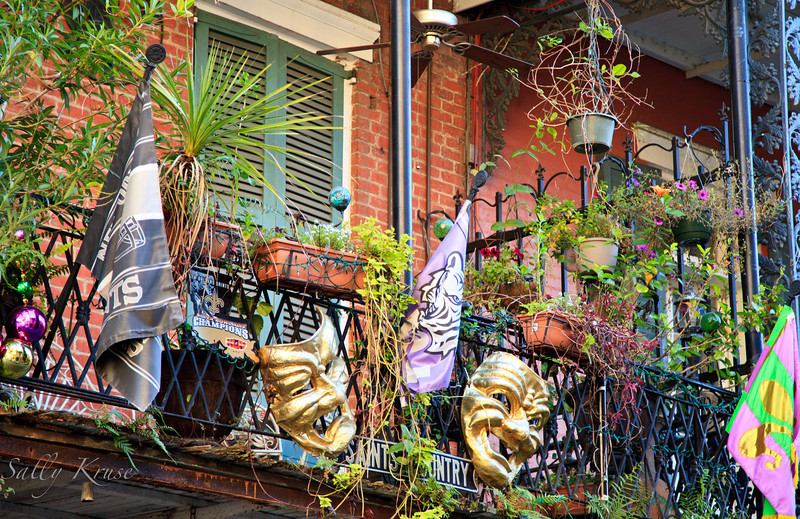A creatively decorated balcony in the French Quarter, New Orleans.