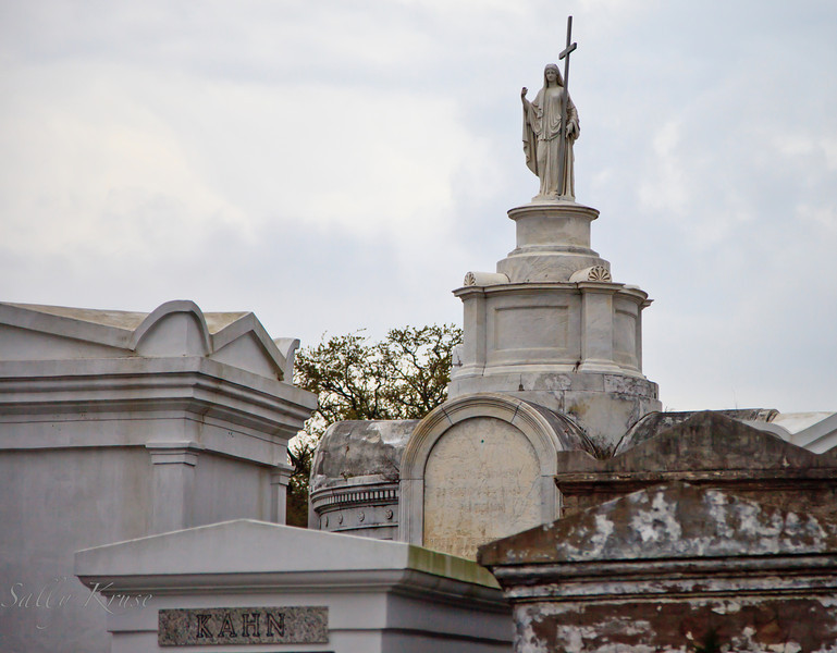 Elaborate tombs in the St. Louis Cemetery #1, just one square block in space but is the final resting place for many thousands.