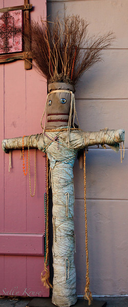 "A nearly life sized voodoo doll at the entrance of ""Voodoo Authentica, Cultural Center & Collection"" in New Orleans."