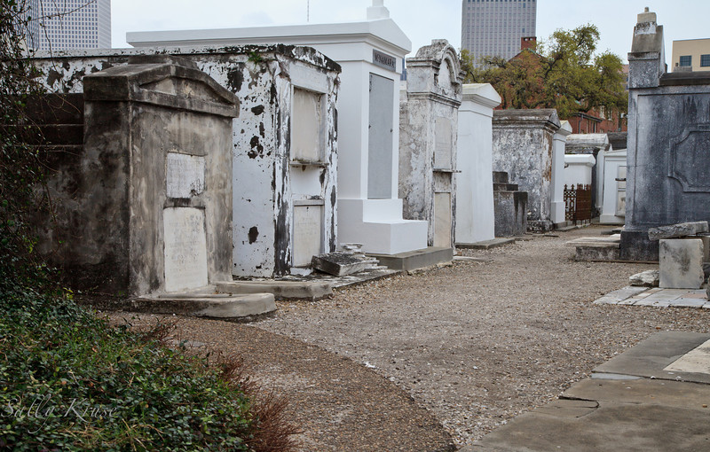 A row of tombs in the St. Louis Cemetery #1 in New Orleans.