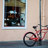 A bicycle parked in the French Quarter in New Orleans.