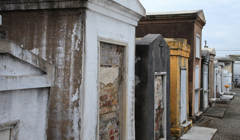A row of above ground tombs located in the St. Louis Cemetery #1 in New Orleans.