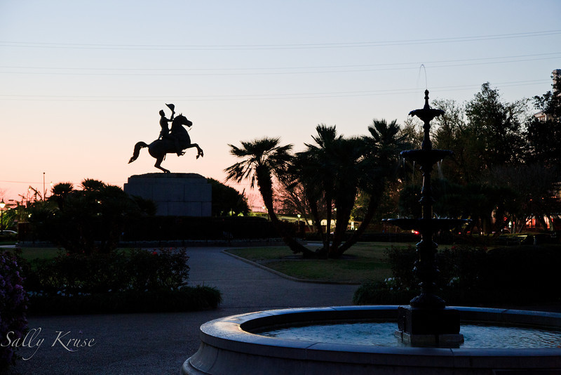 Statue of Andrew Jackson, Battle of New Orleans hero, in the square renamed in his honor.