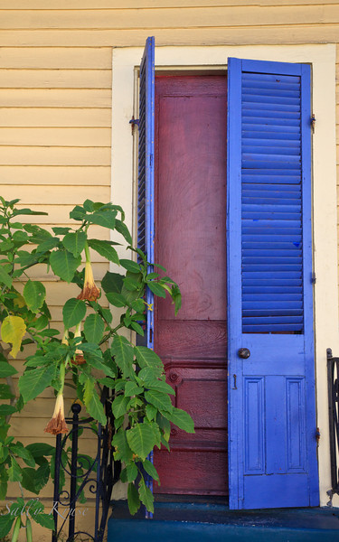 A shuttered entrance to a home in the Marigny/Bywater district, New Orleans.