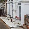 A row of above ground tombs in the St. Louis Cemetery #1, New Orleans.  Each tomb can hold several peoples' remains.